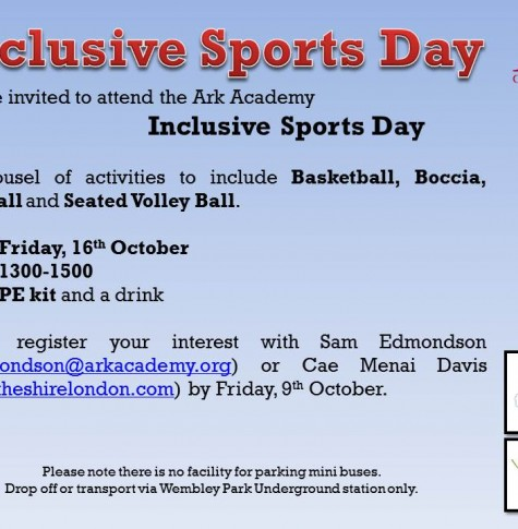 Ark academy inclusive sports day we invite you to come watch brent students compete for sporting greatness stopboris Choice Image